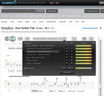 Songsterr tablature online in stile Guitar Pro