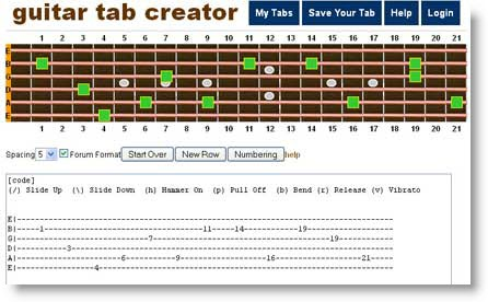 Guitar guitar tablature maker : Guitar Tab Creator: Creare e stampare le proprie Tablature online ...