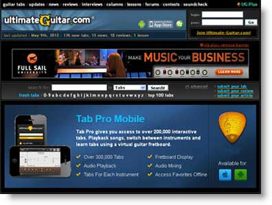 Ultimate Guitar: spartiti e tablature gratis in un click