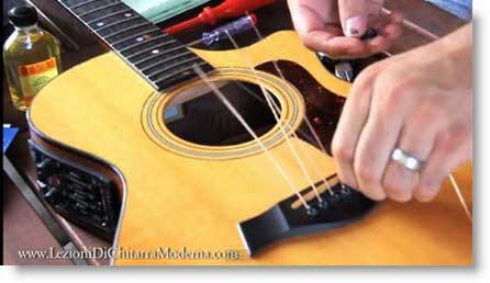 Manutenzione e cambio corde della Chitarra acustica