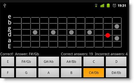 Imparare le note sulla tastiera della Chitarra con un app