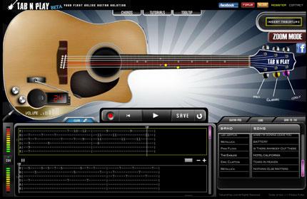 Tabnplay: Chitarra virtuale online e lettore di Tab
