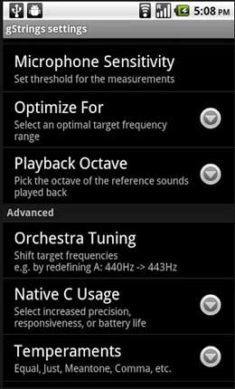 Accordatore Android, guitar tuner