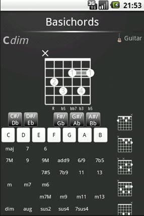 Prontuari degli accordi di chitarra Android