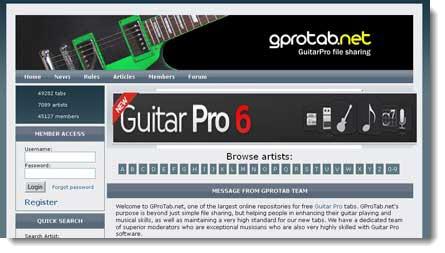Gprotab: spartiti gratis in formato Guitar Pro